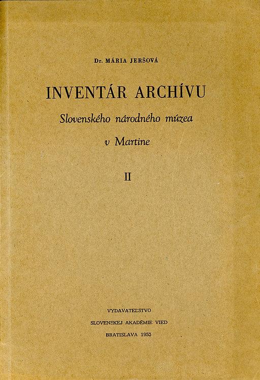 Jeršová Mária, Inventár archívu Slovenského národného múzea v Martine II.