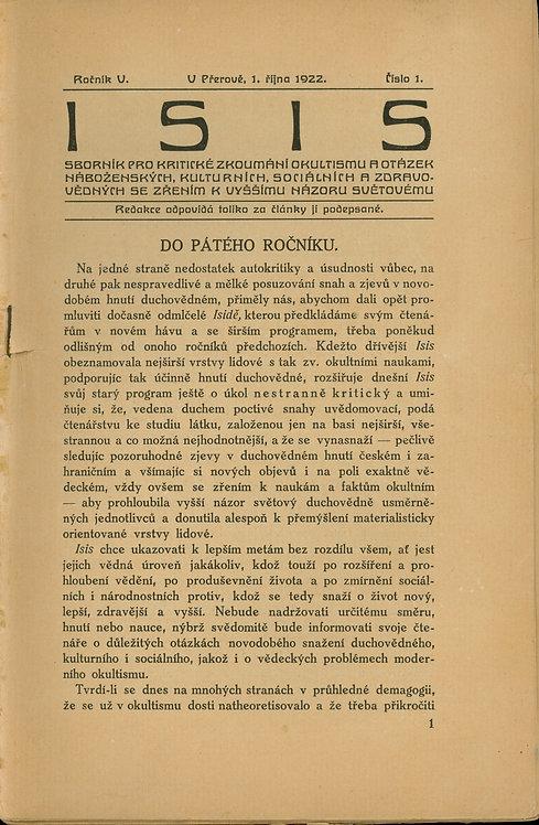 Sborník Isis č. 1, roč. V. - 1922