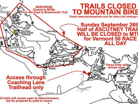 Ascutney Trails Fall Closings