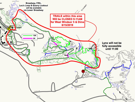 Ascutney Trail Closings 6/15 & 22, 7/6