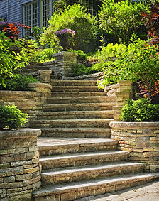 Natural stone stairs landscaping in home