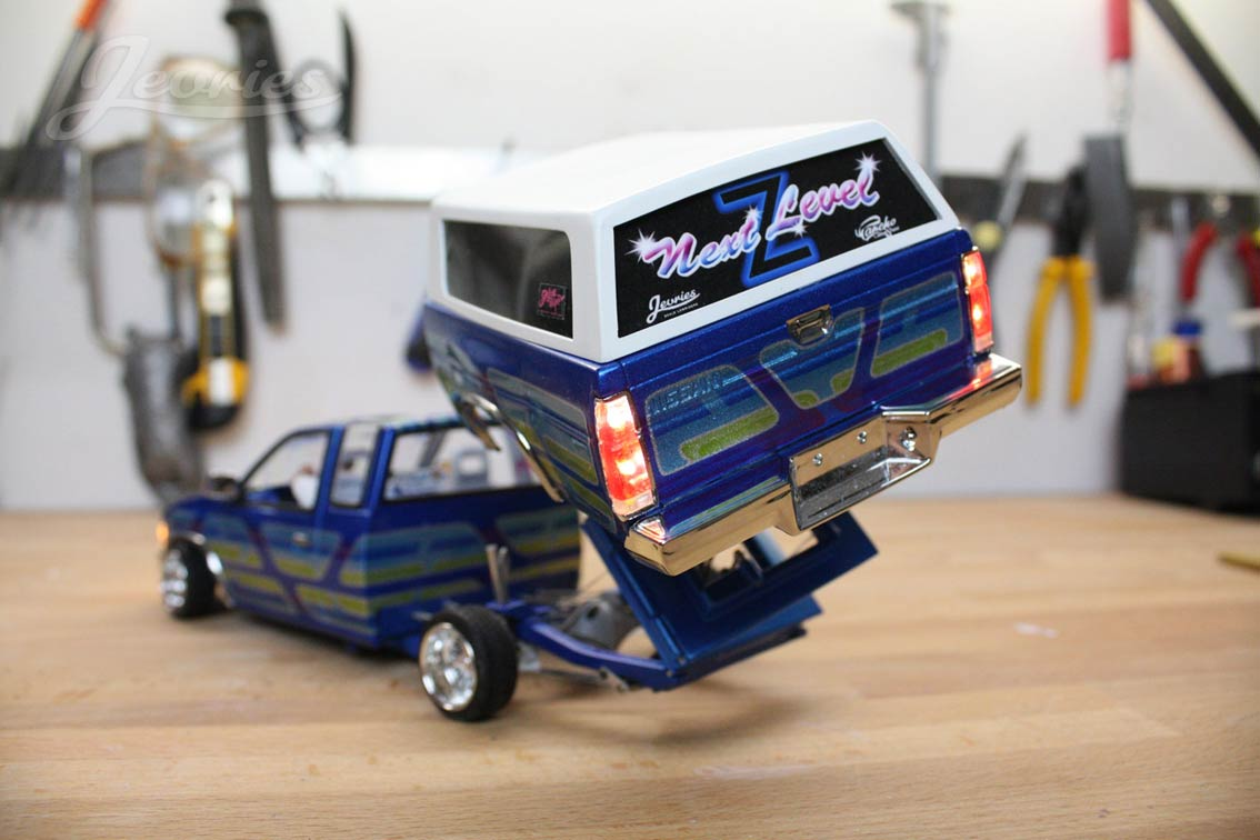 rc mini truck rear view tilted bed