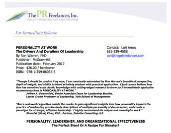 Press Release: Personality At Work