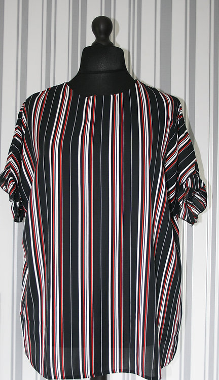 Plus Size Black,White,Red Stripe Top