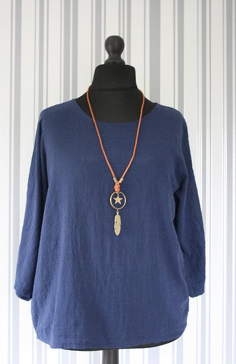 Navy Linen Style Top