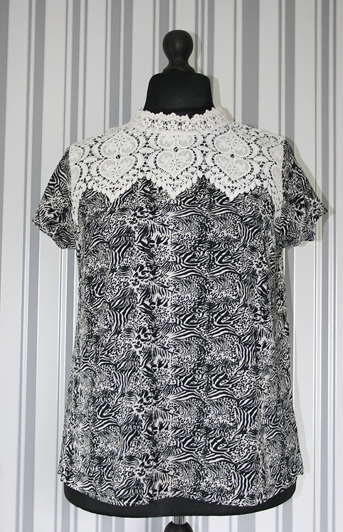 Plus Size Animal Print With Crochet DetailTop