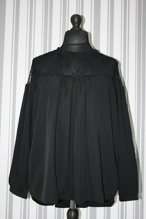 Plus Size Black Lace Neck Top