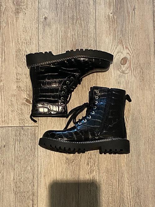 Black croc style boots