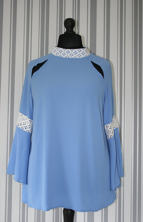 Plus Size High Neck Bell Sleeve Blue Top