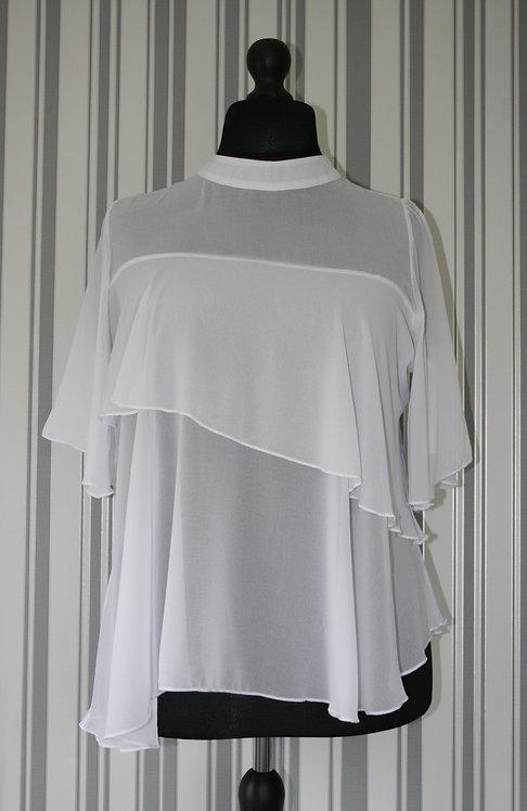 Plus Size White Asymmetrical Frill Top