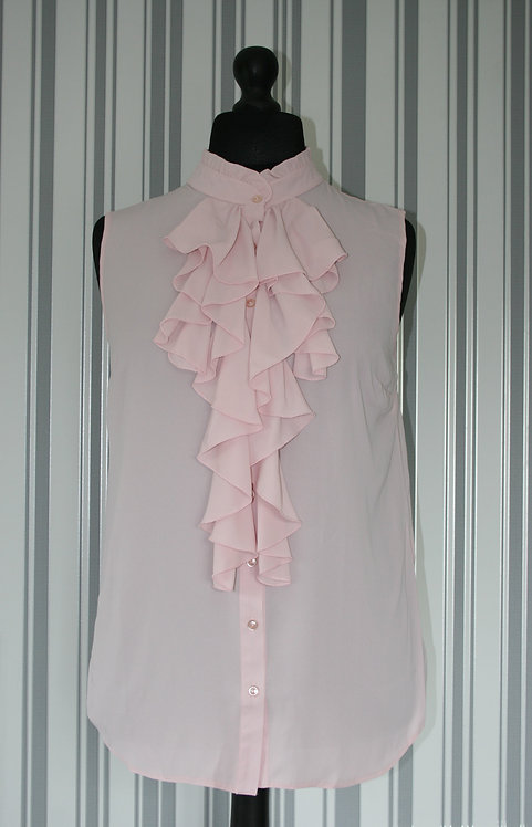 Plus Size Sleeveless Blush Pink Ruffle Neck Top