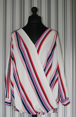 Plus Size multi colour stripe cross over