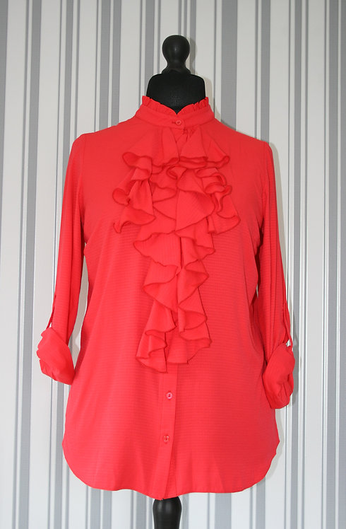 Plus Size Coral Ruffle Top