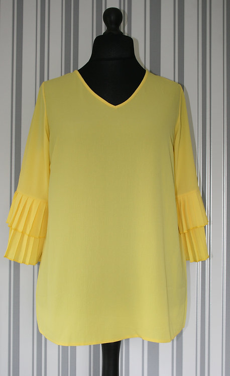 Plus Size Bright Yellow with Frill Sleeve Top
