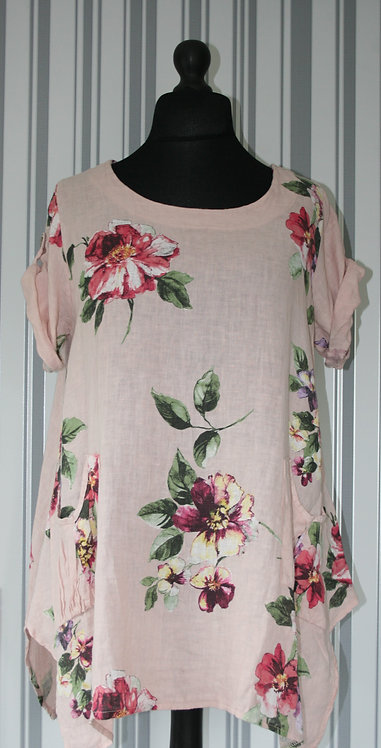 Blush Floral Detail Top One Size