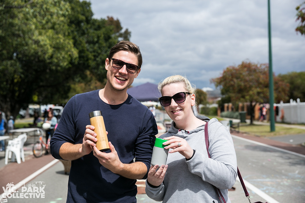Scott Moore and Audrèe Grennan collected their new reusable coffee cups at the Walk Ride Stride car free day!