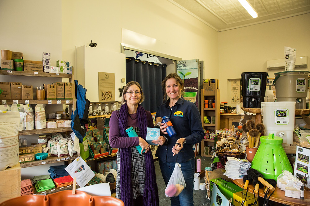 Urban Revolution owner Jo Bussell (right) and Rowena Skinner from Vic Park Transition Network (left).