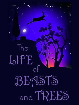 The Life of Beasts and Trees Cover Image. A night scene, with a mythical hare leaping over the moon, the remains of a sunset, a small farm, and a tree shaped like a cathedral window.