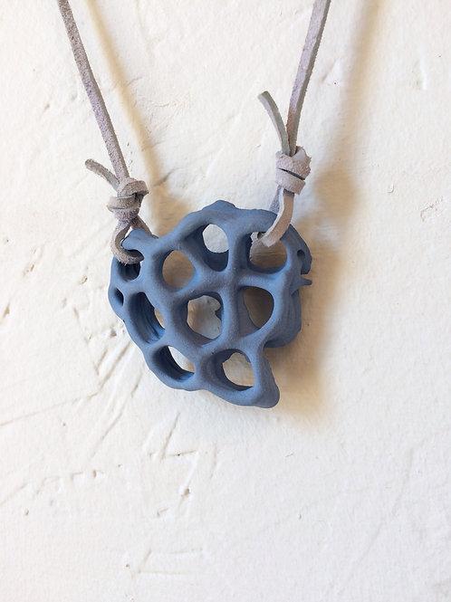 Matte Blue Honeycomb Necklace