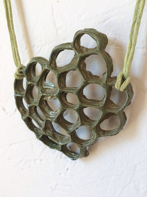 Avocado Green Honeycomb Necklace
