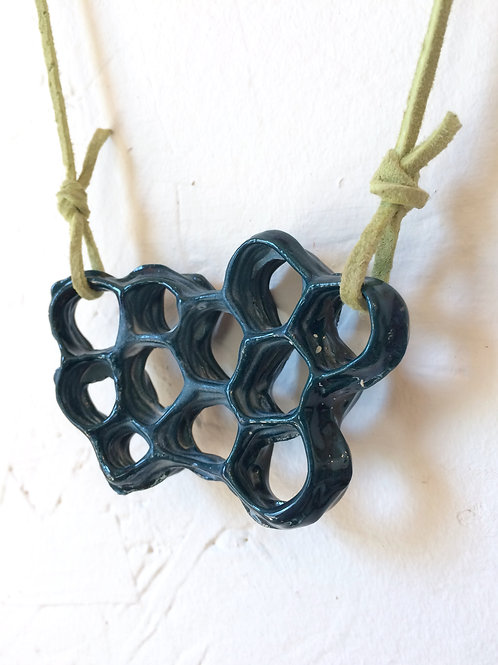 Dark Teal Honeycomb Necklace
