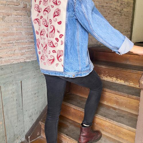 Veste en jean Paisley rouge