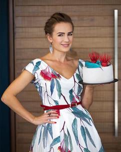 Cake matching dress with eucalyptus flow