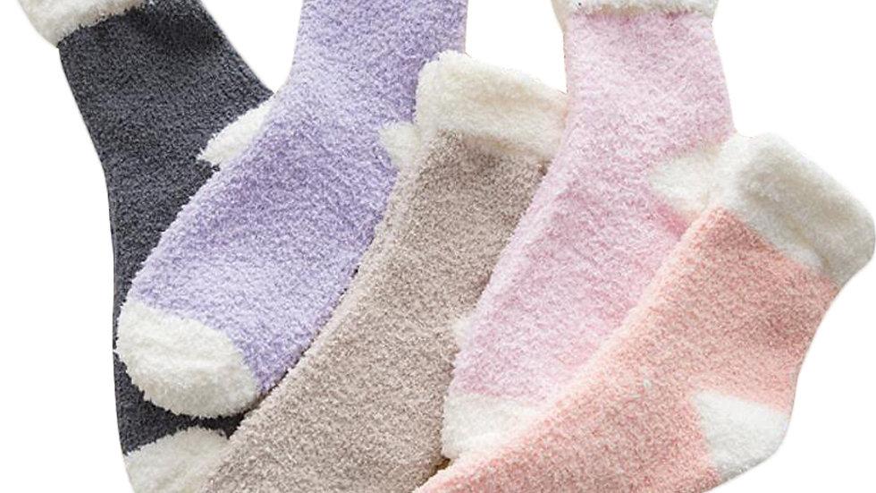 5 Pairs Fuzzy Slipper Socks