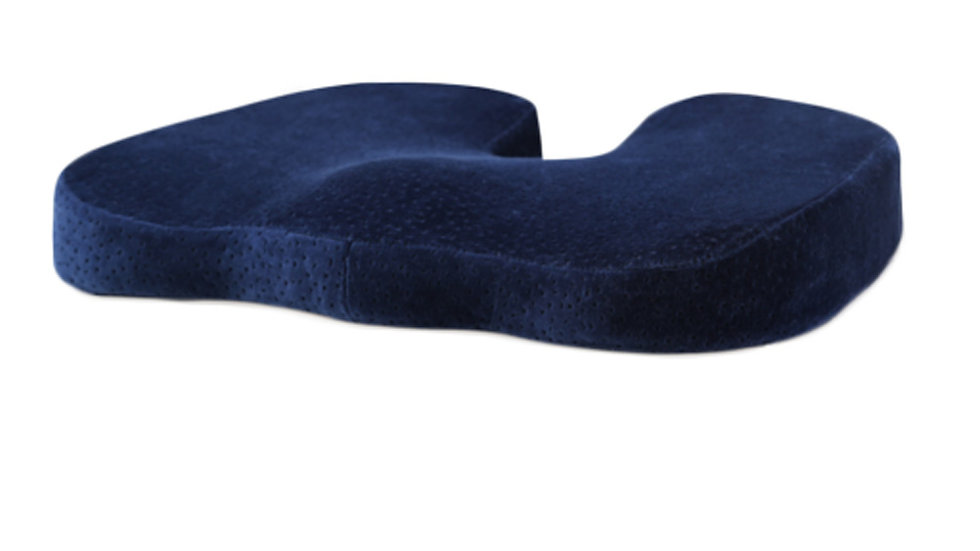 Navy Blue Velvet Buttom Cushion