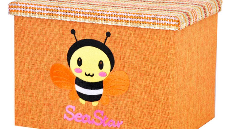 Orange Foldable Organizer Basket with Lid, Bee