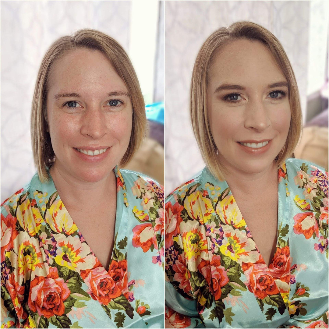 Bridesmaid before and after