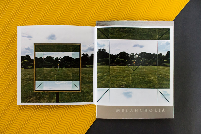 Melancholia is a collaborative project and a response to Godinton House's formal gardens designed for the Sculpture show in 2016. Terry Perk, Adrian Lovis and Daniel Tollady, experimental catalogue