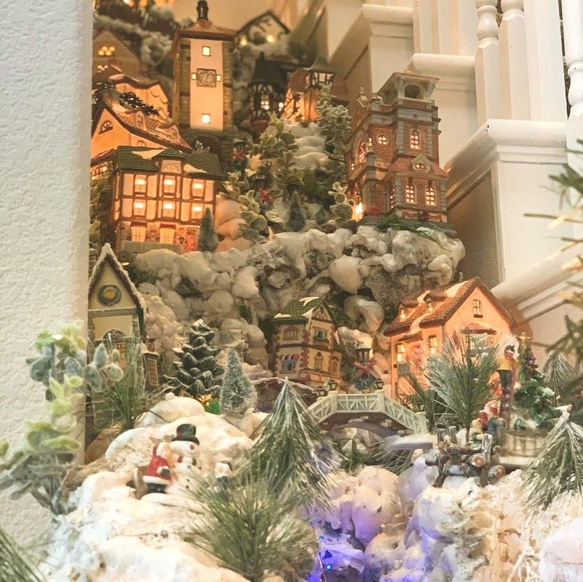 My mom's christmas village mountain