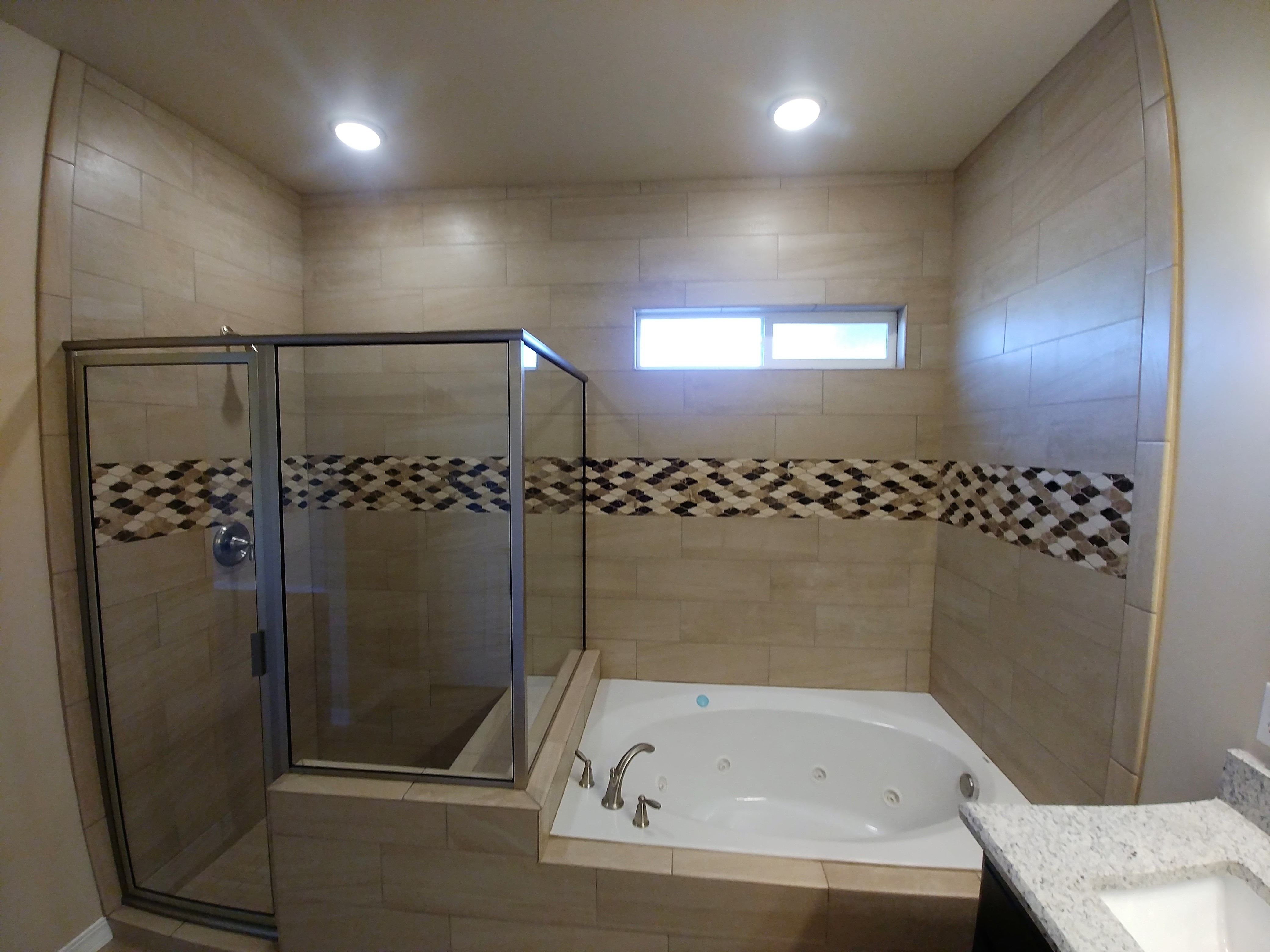 Walk in shower and jetted tub
