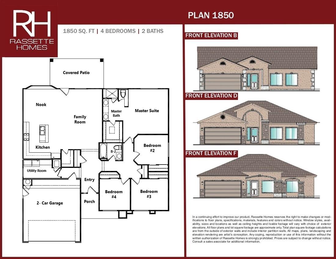 New Home Floor Plan 1850
