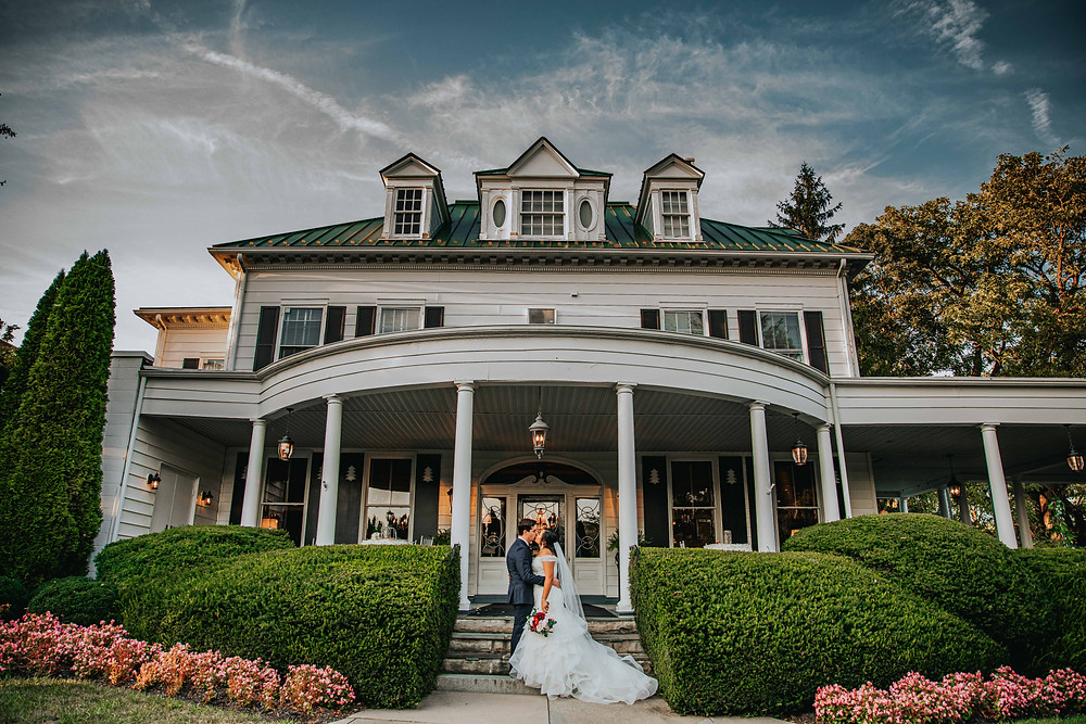 Bride and groom at Mansion at Valley Country Club in Towson Maryland
