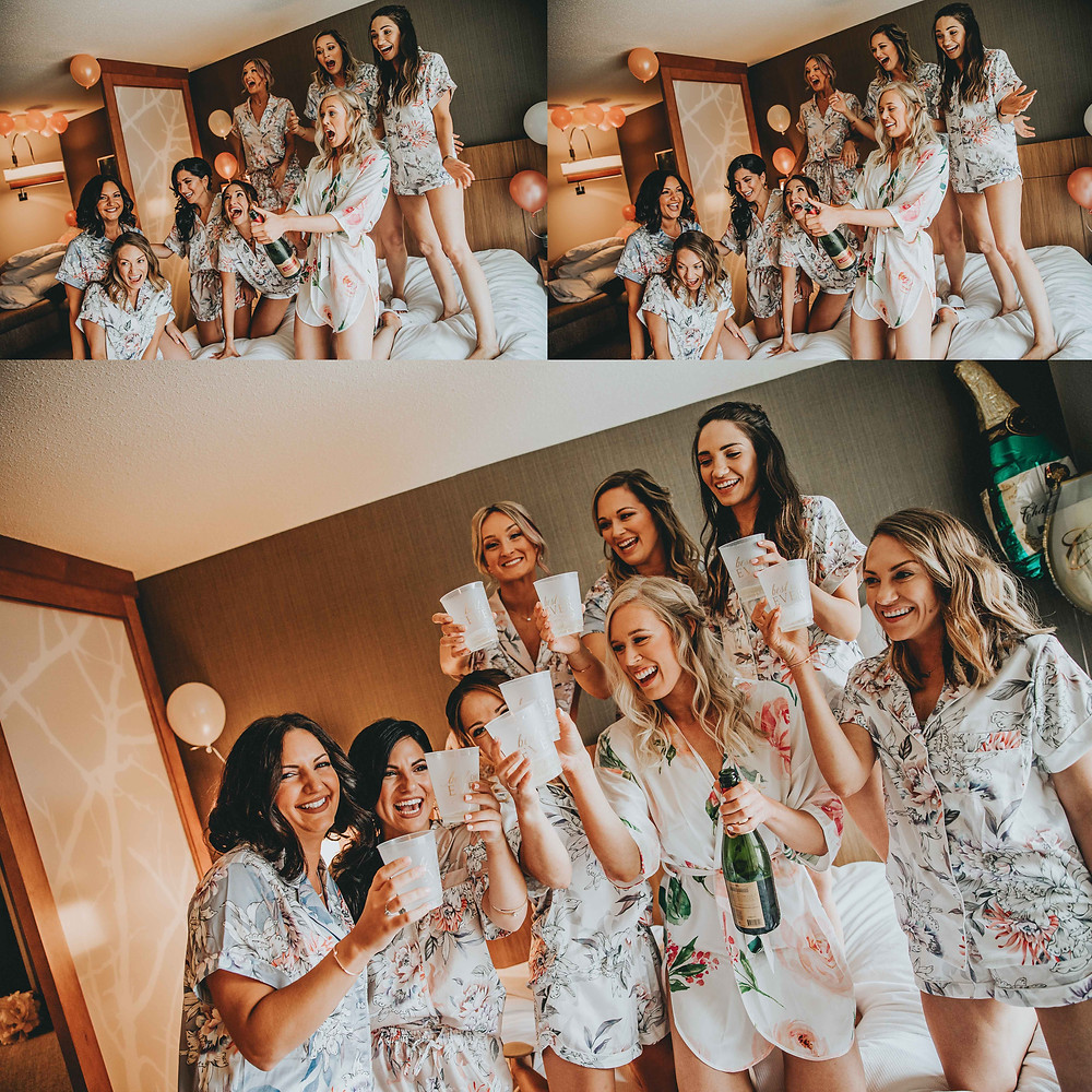 bridesmaids having champagne at Baltimore inner harbor wedding