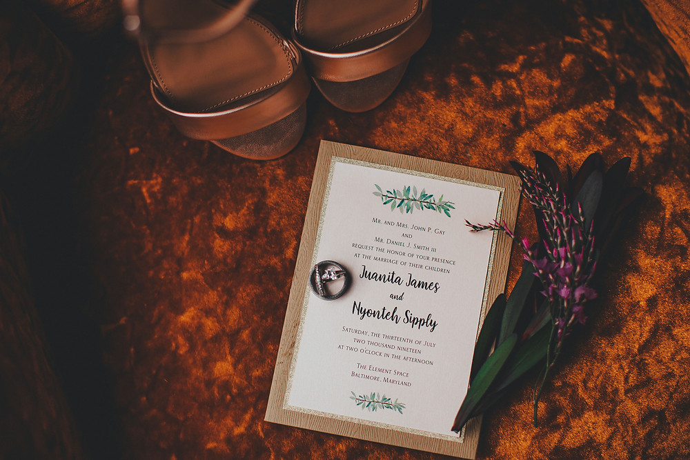 Wedding Invitation in Industrial Boho Baltimore Warehouse