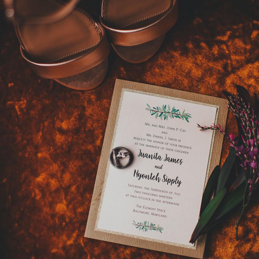 Wedding Invitation in Industrial Boho Baltimore Warehouse