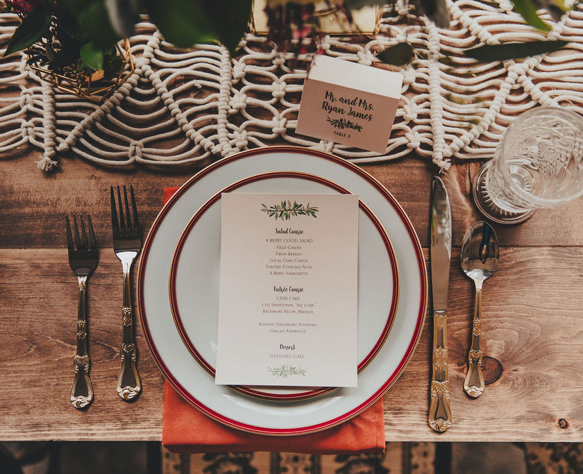 Industrial Boho Table Setting and Decoration in Baltimore Wedding