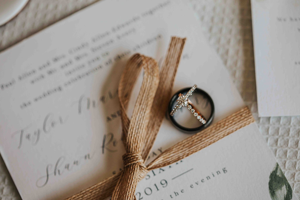 Ring on Invitation captured by Baltimore Wedding Photographer
