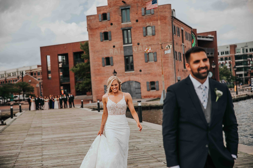 First look in downtown Baltimore with bride and groom