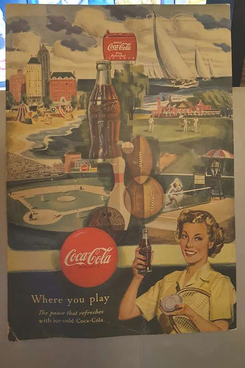 Vintage Coca Cola Ad with many sports themes