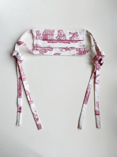 RED TOILE DE JOUY FACE MASK