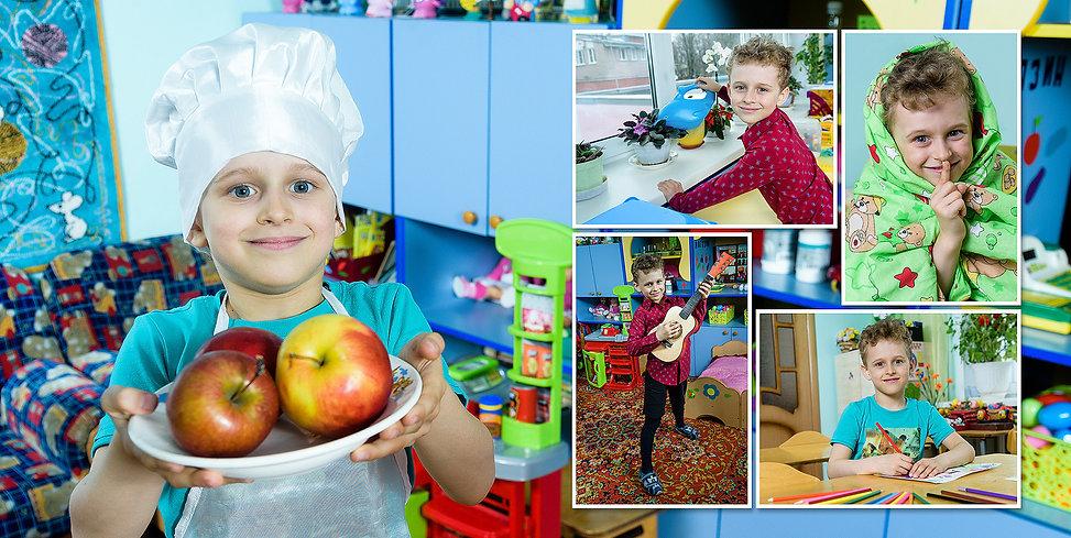 Пример разворота детского выпускного фотоальбома, оформленного приглашенным фотографом в детский сад