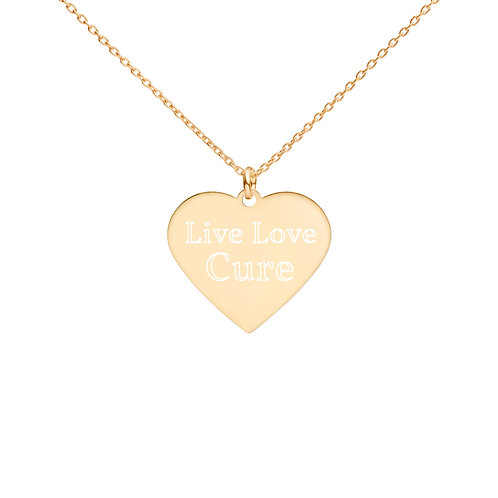 """""""Live Love Cure"""" Engraved Heart Necklace"""