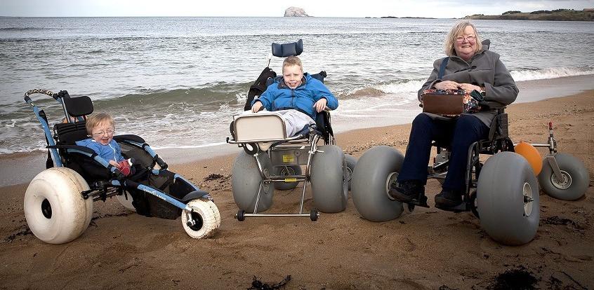 North Berwick Beach Wheelchairs group WE