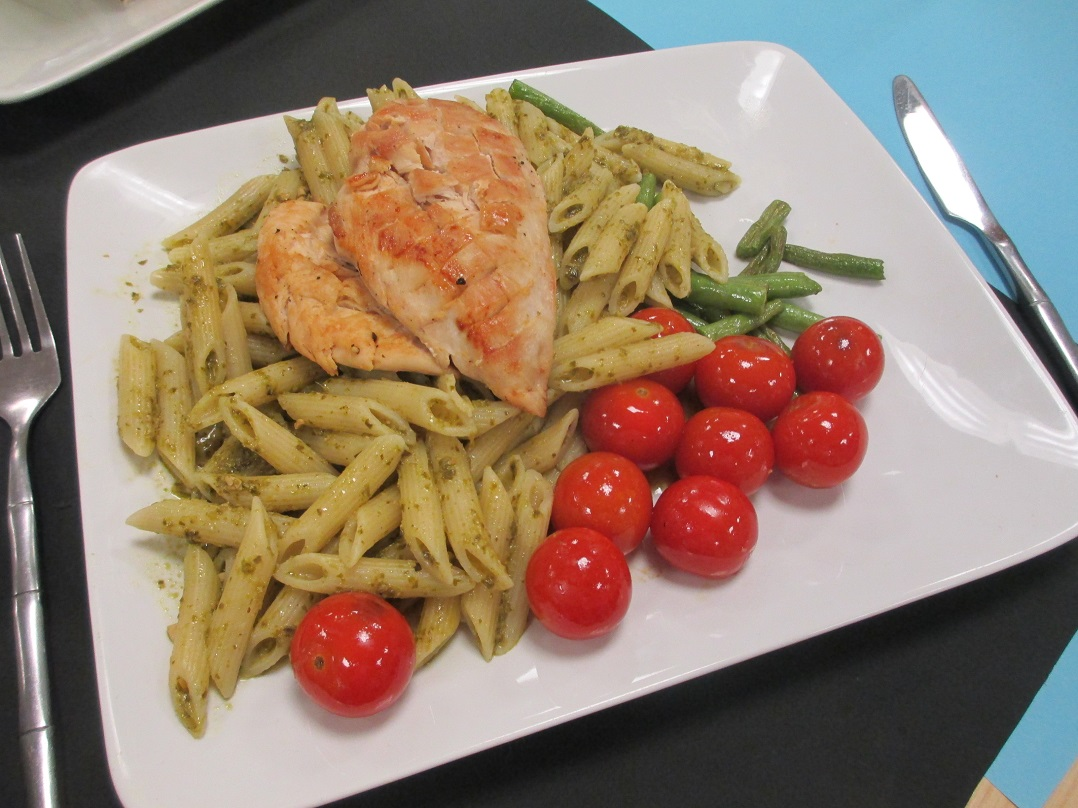 George Hill of Shakespeare School prepared Pesto Chicken Pasta web