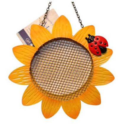Metal sunflower-shaped bird feeder.