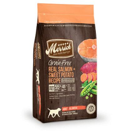 Bag of Merrick Grain Free Salmon & Sweet Potato dry dog food.